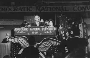 Lyndon Johnson speaks at 1960 Democratic Convention. Photo by Julian P. Kanter.