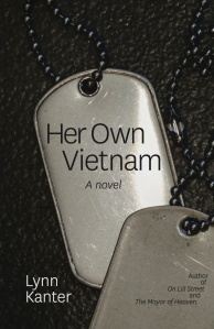 Cover photo of the novel Her Own Vietnam: A pair of dog tags with the title printed on them.